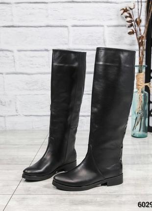 ❤ женские черные демисезонные осенние кожаные сапоги трубы бот...