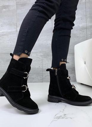 ❤ женские черные демисезонные осенние  замшевые ботинки сапоги...