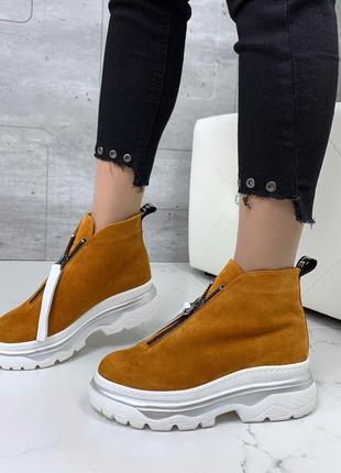 ❤ женские коричневые горчичные зимние замшевые ботинки сапоги ...