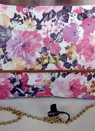 Стильная новая сумка-конверт с цветочным принтом redherring.