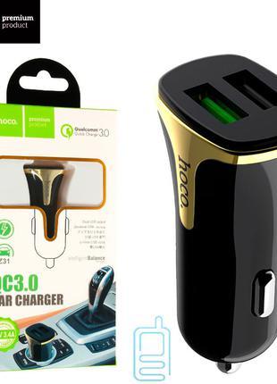 Автомобильное зарядное устройство Hoco Z31 QC3.0 2USB 3.4A black