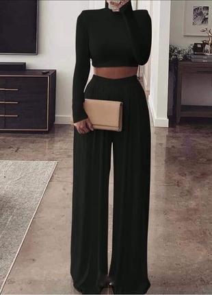 Черный костюм , топ и брюки палаццо , брюки кюлоты , палаццо
