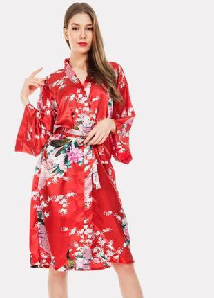 Шелковый красный халат-кимано singapore (размер 36-40)