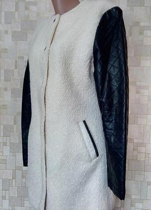Стильное шерстяное пальто с кожаными вставками atmosphere.