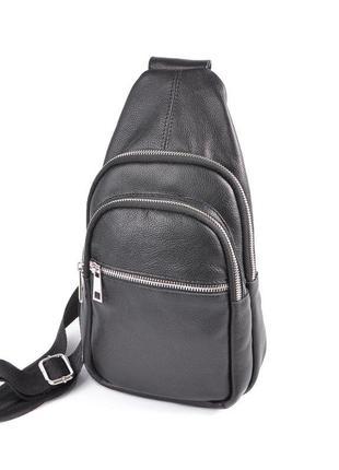 Мужской кожаный рюкзак слинг на одно плечо черный из натуральн...