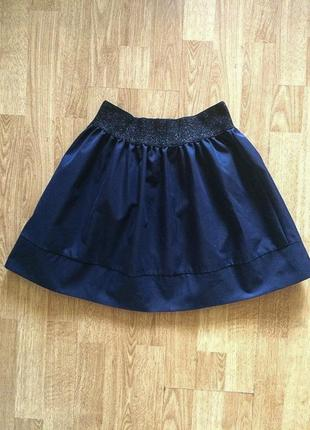 Синяя юбка с блестящим поясом на резинке