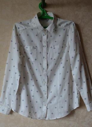 Белая женская котоновая рубашка