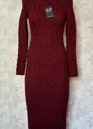 Стильное новое шерстяное платье в косы цвета марсала brian sto...