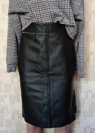 Стильная кожаная юбка genuine leather.