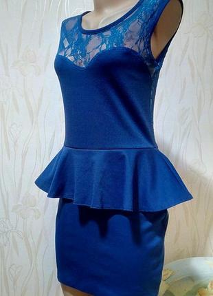 Стильное платье цвета индиго с ажурной спинкой krisp.