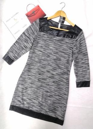 Платье черно-белое со вставками кожи esprit
