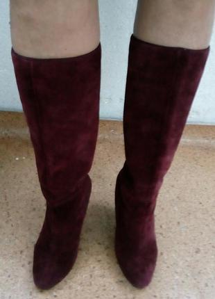 Стильные замшевые сапоги цвета марсала new look.