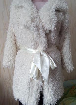 Стильная белая шубка из меха ламы в стиле glamour -shick by ne...