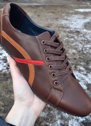 Кожаные туфли спортивные мужские. городские кроссовки, мокасины