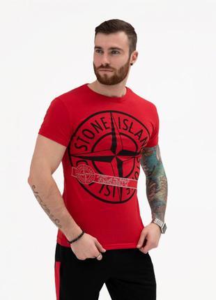 Красная хлопковая футболка с крупным принтом