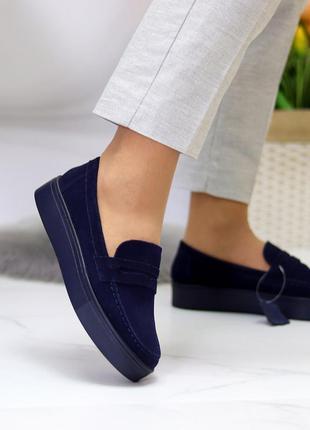 Женские темно синие туфли лоферы замшевые