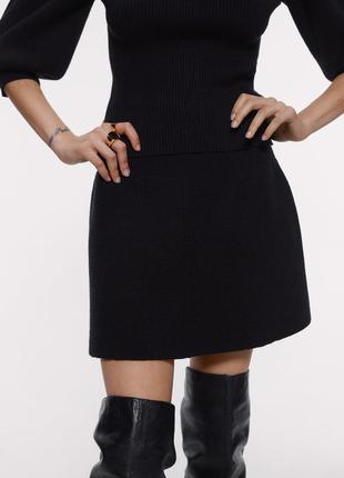 Теплая черная юбка трапеция zara