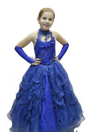 Платье для девочки синее блестящее