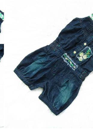 Крутой джинсовый летний полукомбинезон