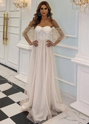 Платье свадебное выпускное  пайетки стразы макси в пол
