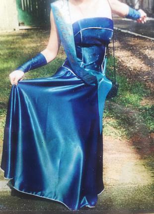 Выпускное платье синего цвета, размер s