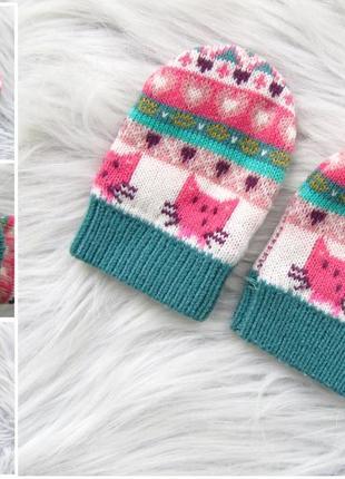 Стилые варежки перчатки рукавицы котик