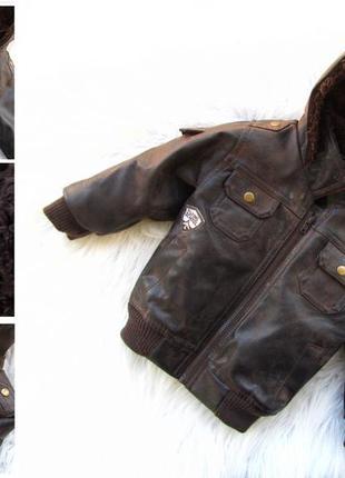 Стильная утепленное кожаная куртка с капюшоном matalan