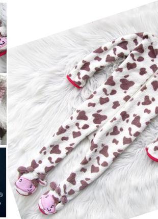 Стильный комбинезон человечек пижама с капюшоном ушками и рожк...