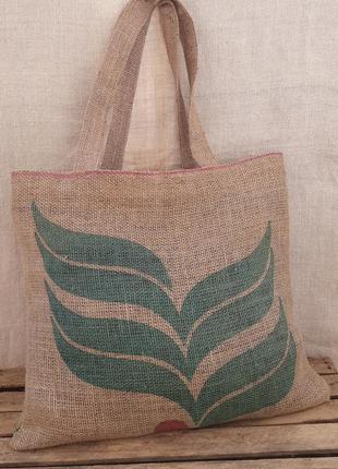 Шоппер экосумка кофесумка торба джут мешковина экологичная беж...