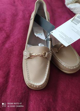Новые женские мокасины кожаные туфли балетки Tom&Rose 40 Натураль