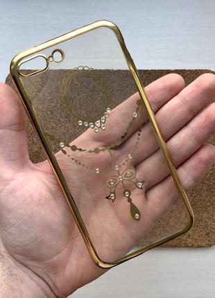 Чехол прозрачный золотистый на для айфон iphone 8 + плюс plus ...