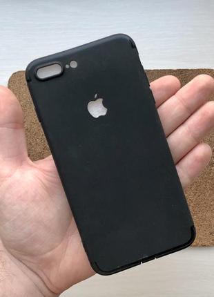Чехол силиконовый черный на для айфон iphone 8 + плюс plus с в...