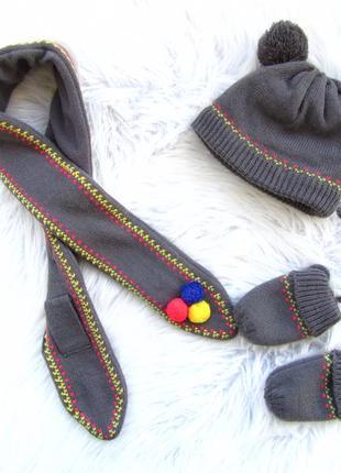 Стильная комплект  шапка варежки рукавицы и шарф jbc
