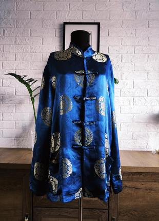 Кимоно халат короткий, шелк синий,золото,вышивка,р.m,l