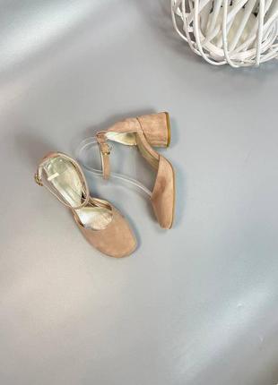 Босоножки туфли с закрытым носком кожа /замш