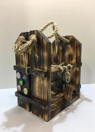 Деревянный ящик (переноска) ручной работы под пиво и не только