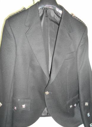 Пиджак жакет с погонами мужской и жилетка шотландия шерсть
