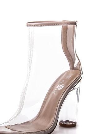 Прозрачные силиконовые ботинки бежевые