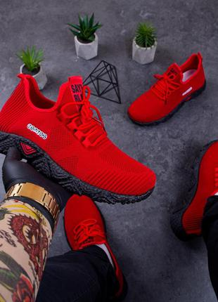 Мужские кроссовки красные, кроссовки демисезонные.