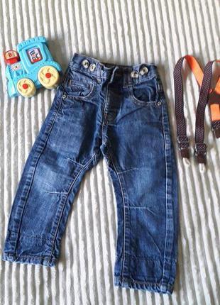 Крутые джинсы с подтяжками для мальчика 1,5- 2 года.