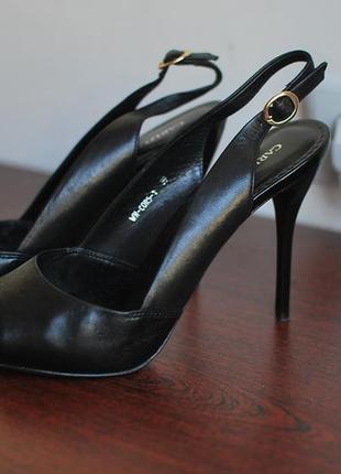Туфли босоножки carlo pazolini на шпильке черные кожа