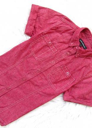 Стильная  джинсовая рубашка с коротким рукавом rebel