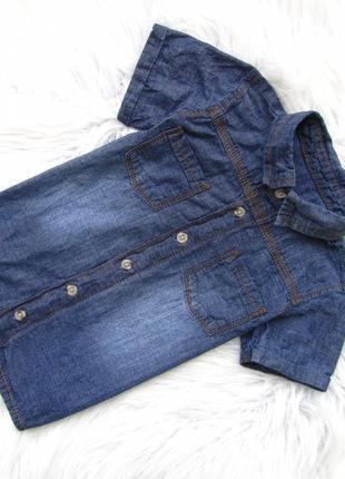 Стильная джинсовая рубашка с коротким рукавом george