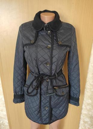 Удлиненная стеганая синяя куртка пальто плащ next