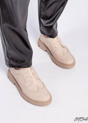 Кожаные женские туфли оксфорды натуральная кожа туфли на шнуровке