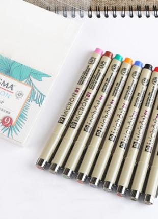 Набор линеров PIGMA Micron 9 шт (цветные) 0.1 (0.25 mm) SAKURA