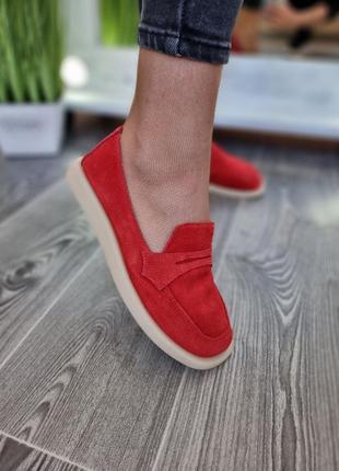 Туфли лоферы мокасины женские натуральная замша