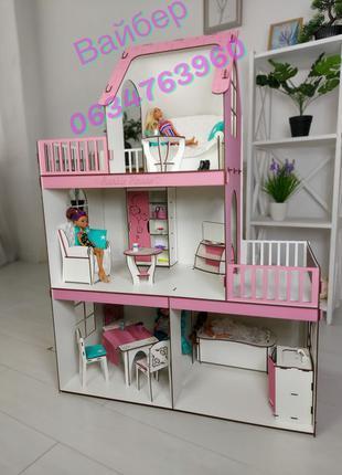 Кукольный домик для барби,розовый дом для кукол,мебель в подарок