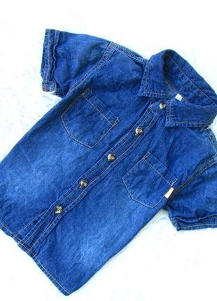 Стильная и качественная джинсовая рубашка с коротким рукавом