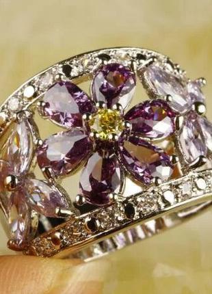 Серебряное кольцо с турмалином и аметистами
